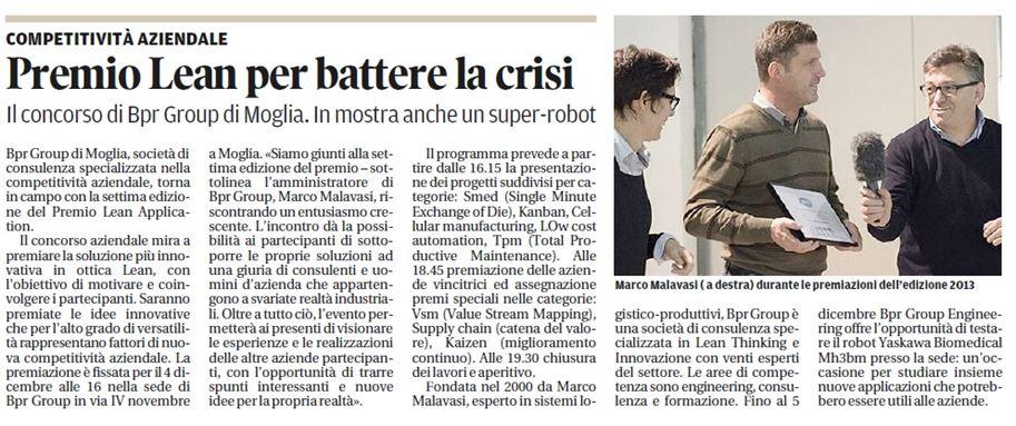 BPRGroup – Premio Lean Applications – Gazzetta di Mantova 25/11/2014